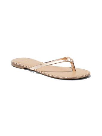 Faux Patent Leather Flip Flop Sandal by New York & Company