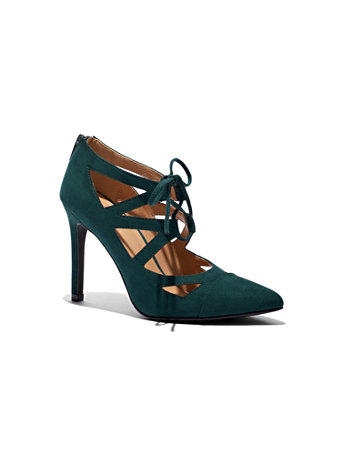 Faux Suede Lace Up Pump by New York & Company