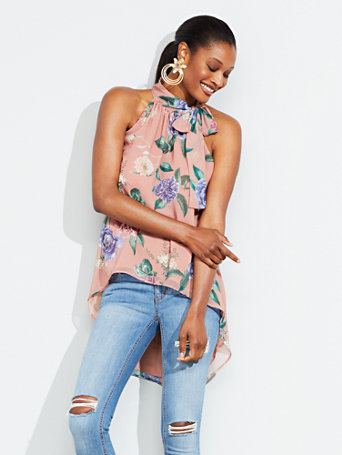 Floral Hi Lo Halter Blouse by New York & Company