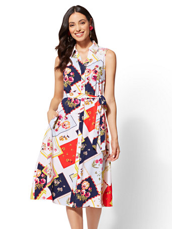 Floral Patchwork Shirtdress by New York & Company