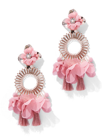 Floral & Tassel Statement Drop Earring by New York & Company