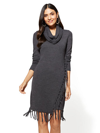 NY&C: Fringe-Trim Cowl-Neck Sweater Dress
