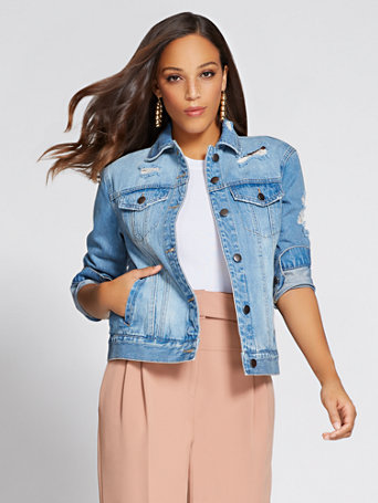 """Gabrielle Union Collection – """"Authentic"""" Destroyed Denim Jacket by New York & Company"""