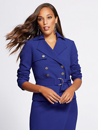 Gabrielle Union Collection   Blue Short Trench Coat by New York & Company