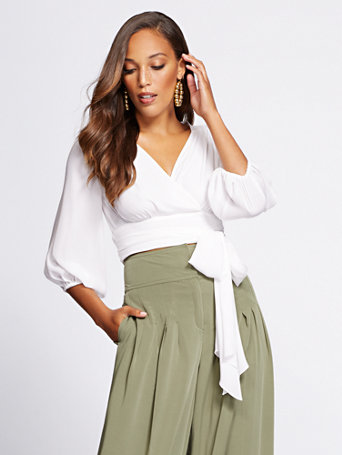 Gabrielle Union Collection   Crop Tie Front Blouse by New York & Company