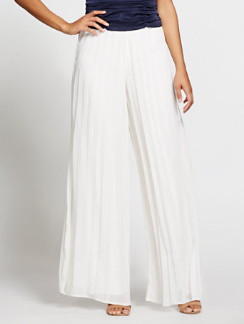 Gabrielle Union Collection   Ivory Shimmer Palazzo Pant by New York & Company