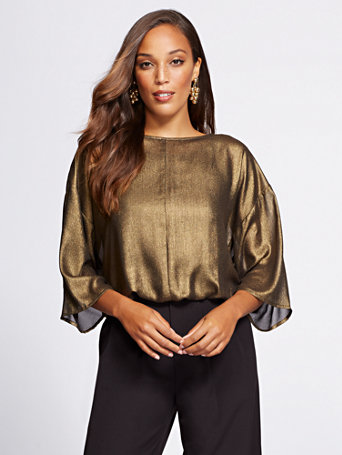 Gabrielle Union Collection   Metallic Dolman Blouse by New York & Company