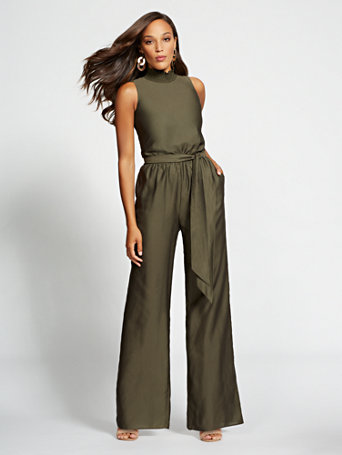 Gabrielle Union Collection   Olive Mock Neck Jumpsuit by New York & Company