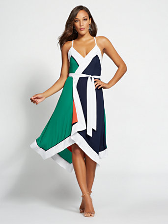 Gabrielle Union Collection   Petite Colorblock Wrap Dress by New York & Company