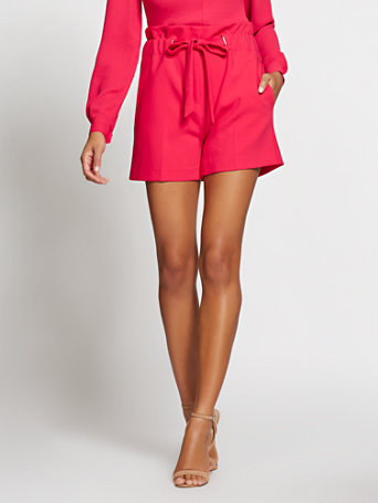 Gabrielle Union Collection   Pink Paperbag Waist Short by New York & Company