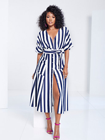 Gabrielle Union Collection   Tall Striped Kimono Dress by New York & Company
