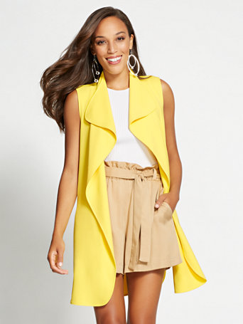 Gabrielle Union Collection   Yellow Open Front Vest by New York & Company