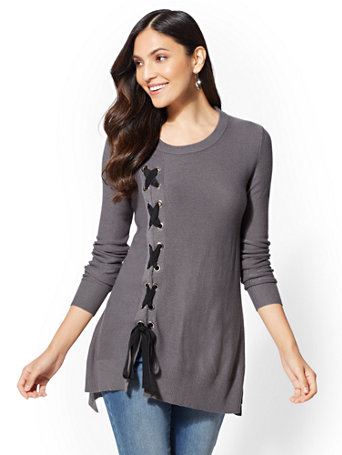Lace Up Hi Lo Sweater by New York & Company