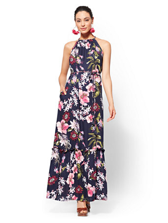 Navy Floral Halter Maxi Dress by New York & Company