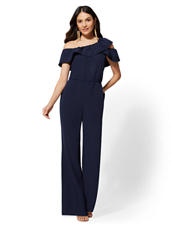 Navy Ruffled Off The Shoulder Jumpsuit by New York & Company