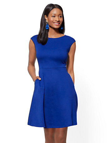 Petite Bateau Neck Cotton Fit And Flare Dress by New York & Company