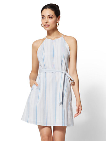 Petite Striped Halter Shift Dress by New York & Company