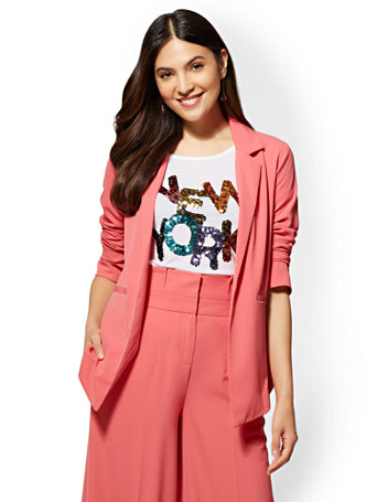 Pink Open Front Blazer by New York & Company