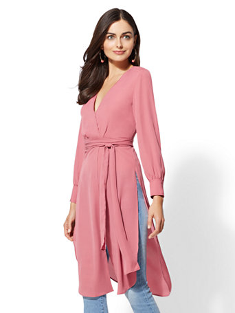 Pink Tie Waist Maxi Blouse by New York & Company