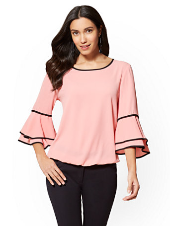 Piped Bell Sleeve Top by New York & Company