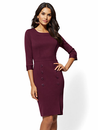 Ponte Button-Accent Sheath Dress | Tuggl
