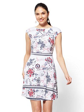 Printed Cotton Fit And Flare Dress by New York & Company