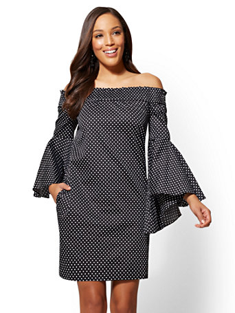 Printed Off The Shoulder Bell Sleeve Shift Dress by New York & Company
