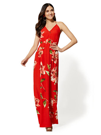 Red Floral Halter Maxi Dress by New York & Company