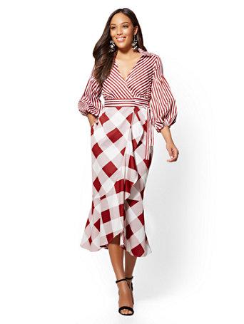 Red Plaid & Stripe Wrap Shirtdress by New York & Company