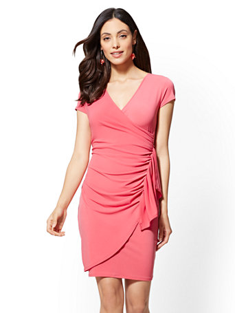 Ruffled Wrap Sheath Dress | Tuggl