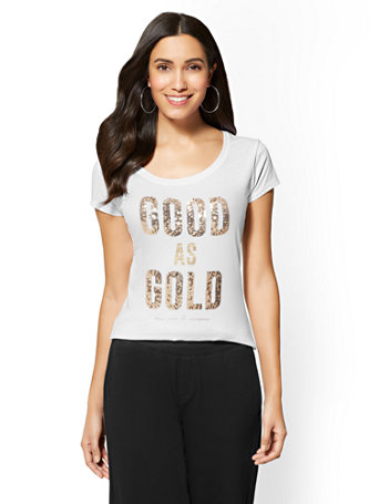 """Sequin """"Good As Gold"""" Graphic Logo Tee by New York & Company"""