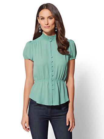 Smocked Button Front Peplum Blouse by New York & Company