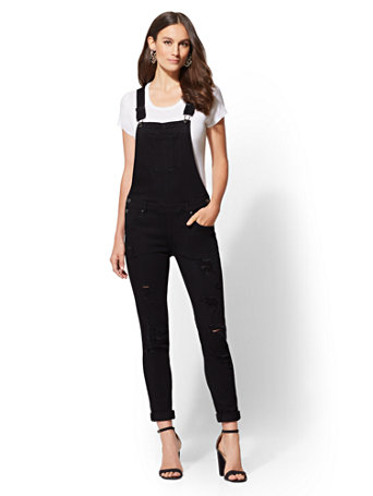 Soho Jeans   Destroyed Overall   Black by New York & Company