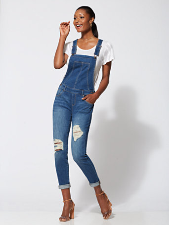 Soho Jeans   Destroyed Overall   Blue Crush by New York & Company