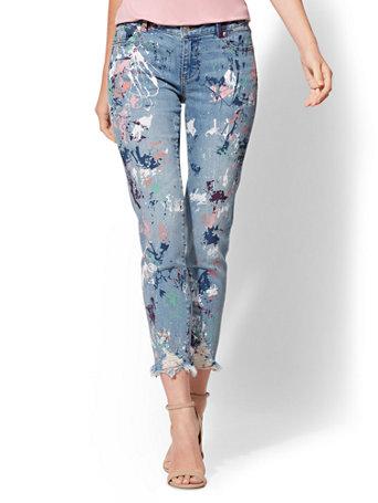 Soho Jeans   Destroyed Paint Splattered Boyfriend Jean   Daylight Blue Wash by New York & Company