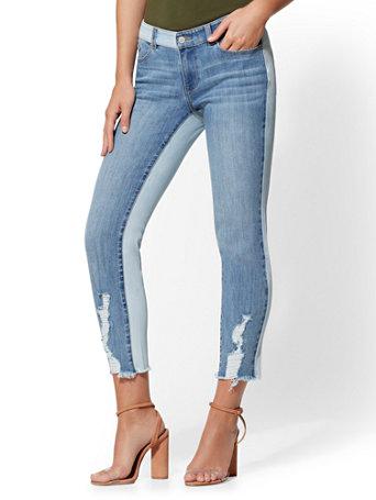 Soho Jeans   Destroyed Two Tone Boyfriend  Indigo by New York & Company