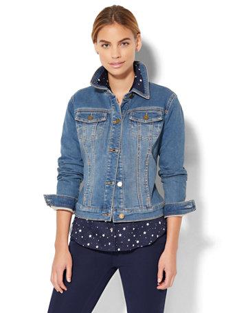 Denim Jacket Knitting Pattern : NY&C: Soho Jeans - Knit Denim Jacket