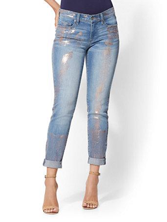 Soho Jeans   Metallic Foil Curvy Boyfriend by New York & Company