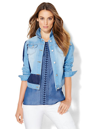 Soho Jeans   Patchwork Denim Jacket by New York & Company