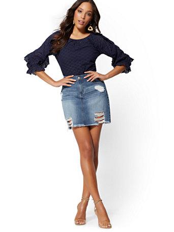 Soho Jeans   Rip & Repair Skirt   Indigo Blue by New York & Company