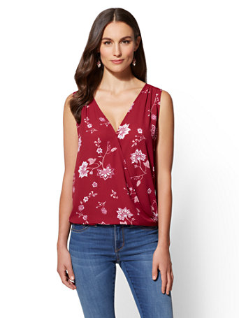Soho Soft Shirt   Floral V Neck Wrap by New York & Company