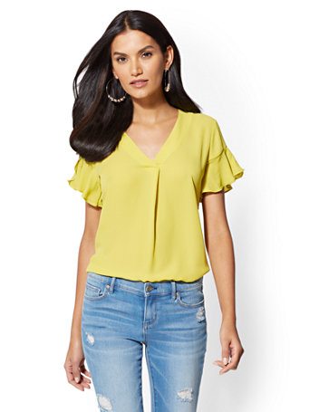 Soho Soft Shirt   Flounced Sleeve Blouse by New York & Company