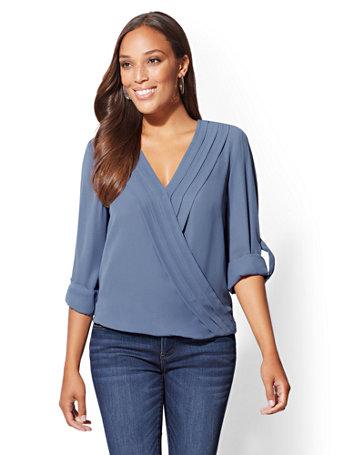 Soho Soft Shirt   Pleated Wrap Blouse by New York & Company