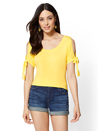 Soho Soft Tee - Tie-Detail Cold-Shoulder Tee | Tuggl