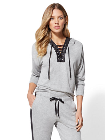 Soho Street   Grey Lace Up Hooded Sweatshirt by New York & Company