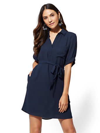 Solid Soft Tie Shirtdress by New York & Company