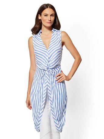 Stripe Hi Lo Twist Detail Tunic Shirt by New York & Company
