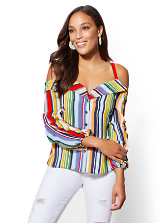Stripe Off The Shoulder Shirt by New York & Company