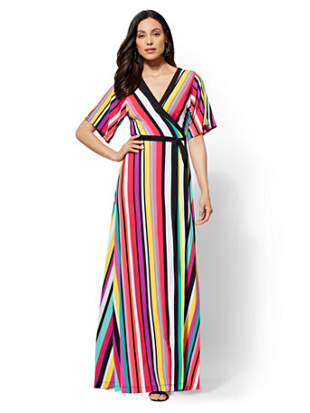 Shoptagr Stripe V Neck Wrap Maxi Dress By New York Company