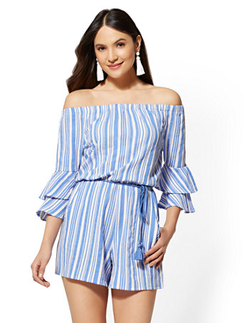 Striped Off-The-Shoulder Romper | Tuggl